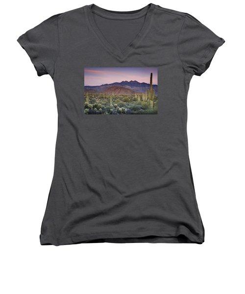 A Desert Sunset  Women's V-Neck T-Shirt (Junior Cut) by Saija  Lehtonen