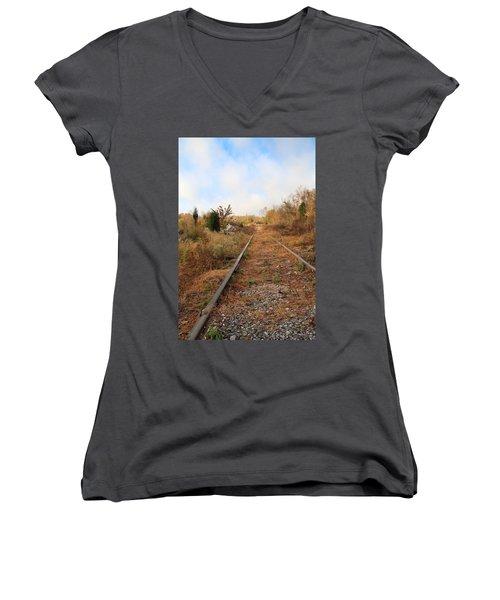 Abandoned Tracks Women's V-Neck T-Shirt (Junior Cut) by Melinda Fawver