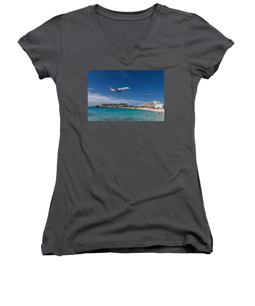 American Airlines At St Maarten Women's V-Neck T-Shirt