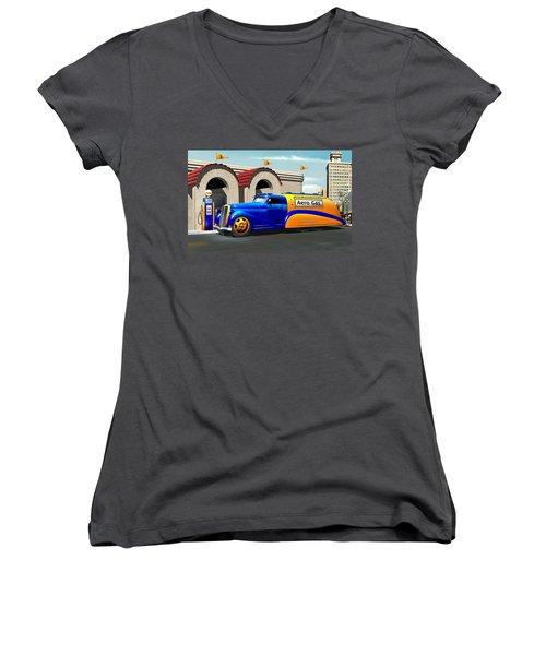 Art Deco Gas Truck Women's V-Neck T-Shirt