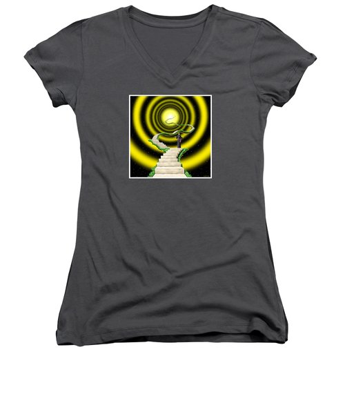 Women's V-Neck T-Shirt (Junior Cut) featuring the digital art Ascension by Scott Ross