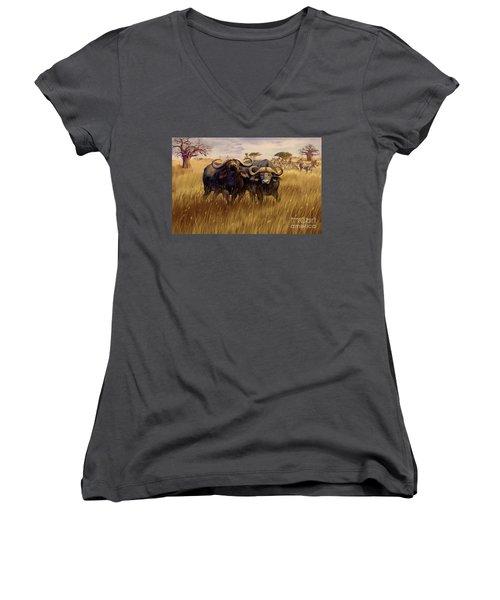 Women's V-Neck T-Shirt (Junior Cut) featuring the digital art 2 Bad Duga Boys  by Rob Corsetti