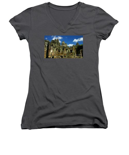 Bayon Temple Women's V-Neck T-Shirt (Junior Cut) by Joey Agbayani