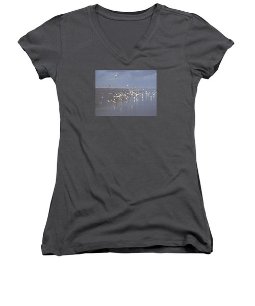Birds At The Beach Women's V-Neck T-Shirt
