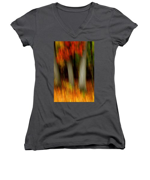 Blazing In The Woods Women's V-Neck T-Shirt