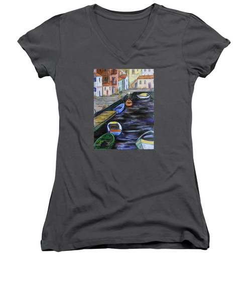 Women's V-Neck T-Shirt (Junior Cut) featuring the painting Boats In Front Of The Buildings IIi by Xueling Zou