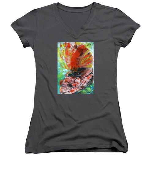 Butterfly And Flower Women's V-Neck T-Shirt (Junior Cut) by Jasna Dragun