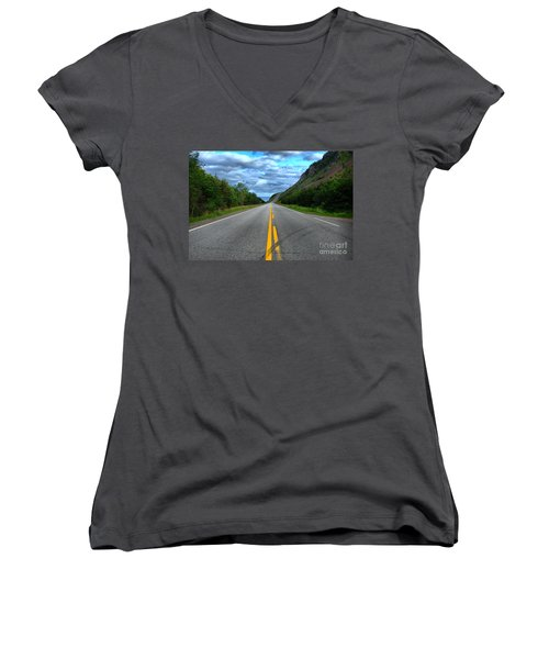 Women's V-Neck T-Shirt (Junior Cut) featuring the photograph Cabot Trail by Joe  Ng