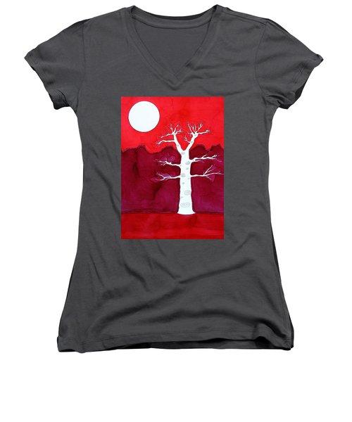 Canyon Tree Original Painting Women's V-Neck T-Shirt (Junior Cut) by Sol Luckman