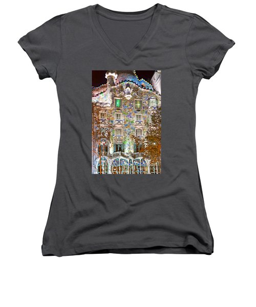 Casa Batllo - Barcelona Women's V-Neck T-Shirt (Junior Cut) by Luciano Mortula