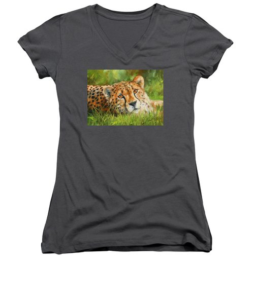 Cheetah Women's V-Neck T-Shirt (Junior Cut) by David Stribbling