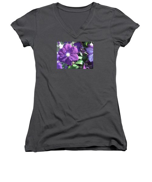 Clematis With Blazing Center Women's V-Neck T-Shirt