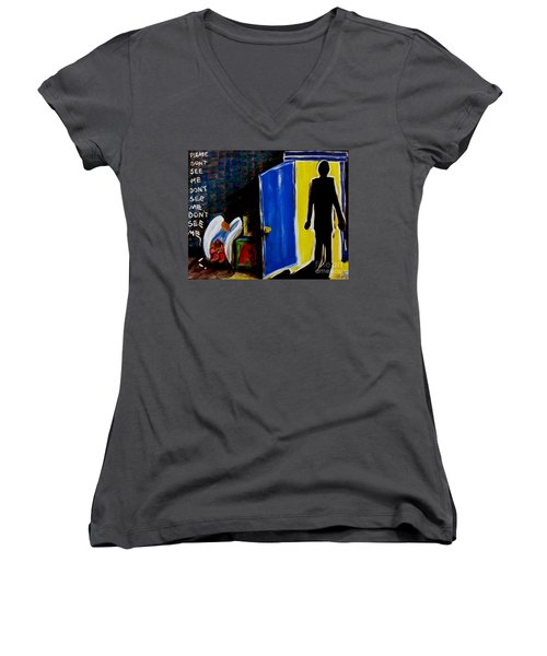 Women's V-Neck T-Shirt (Junior Cut) featuring the painting Don't See Me by Jackie Carpenter