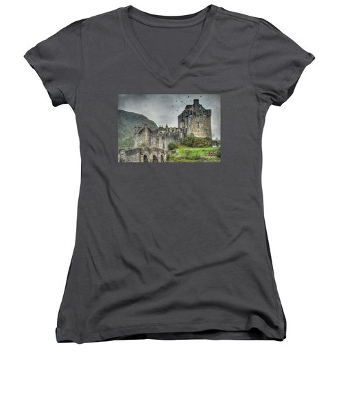 Eilean Donan Castle Women's V-Neck T-Shirt (Junior Cut) by Juli Scalzi