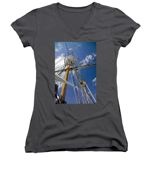 Women's V-Neck T-Shirt (Junior Cut) featuring the photograph Elizabeth II Mast Rigging by Greg Reed