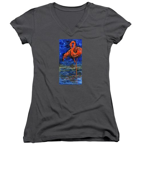 Women's V-Neck T-Shirt (Junior Cut) featuring the painting Flamingo by Xueling Zou