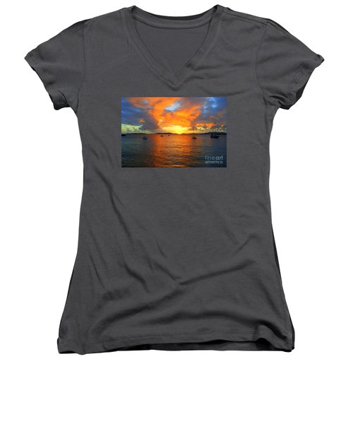 Frank Bay St. John U. S. Virgin Islands Sunset Women's V-Neck T-Shirt (Junior Cut) by Catherine Sherman