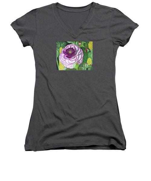 Garnet Punch Women's V-Neck T-Shirt (Junior Cut) by Donna  Manaraze