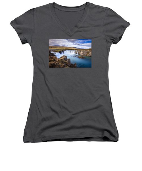 Godafoss Waterfall Women's V-Neck T-Shirt