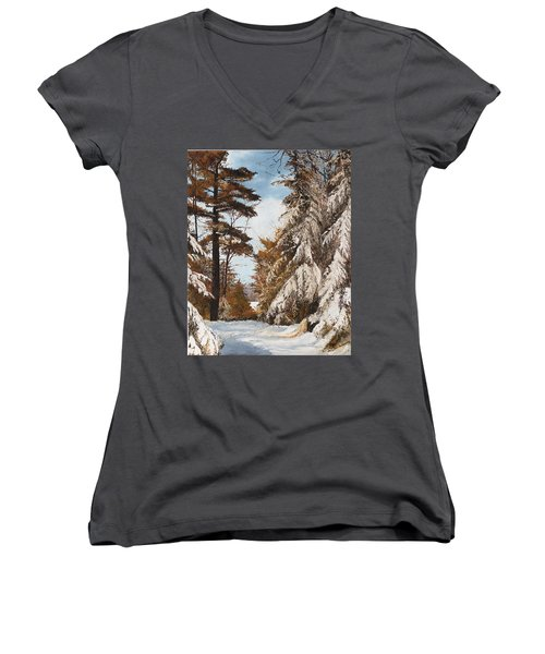 Women's V-Neck T-Shirt (Junior Cut) featuring the painting Holland Lake Lodge Road - Montana by Mary Ellen Anderson