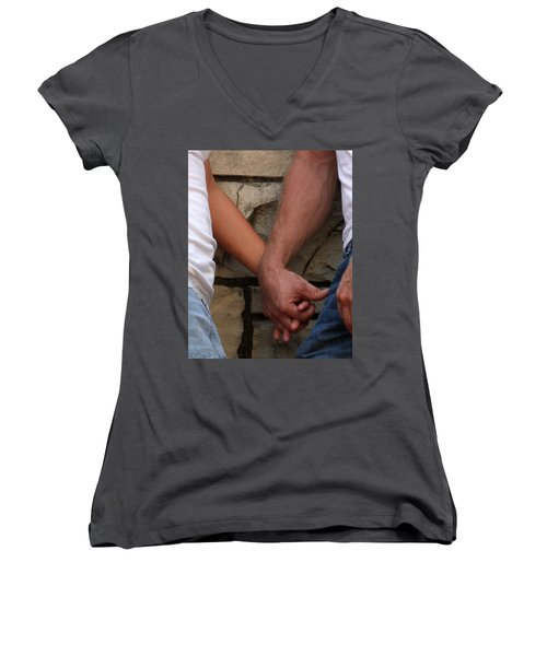 Women's V-Neck T-Shirt (Junior Cut) featuring the photograph I Wanna Hold Your Hand by Lesa Fine