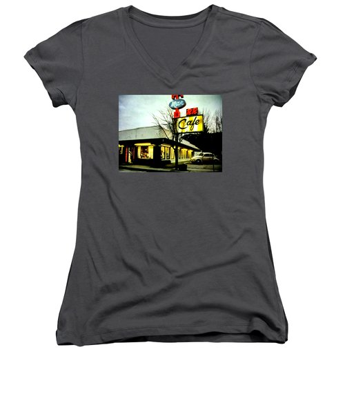 Women's V-Neck T-Shirt (Junior Cut) featuring the painting I Went For Breakfast At The Double R by Luis Ludzska
