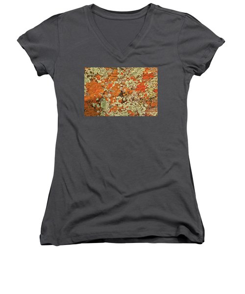 Women's V-Neck featuring the photograph Lichen Abstract by Mae Wertz