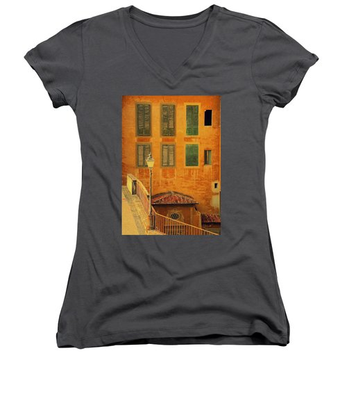 Medieval Windows Women's V-Neck T-Shirt (Junior Cut) by Caroline Stella