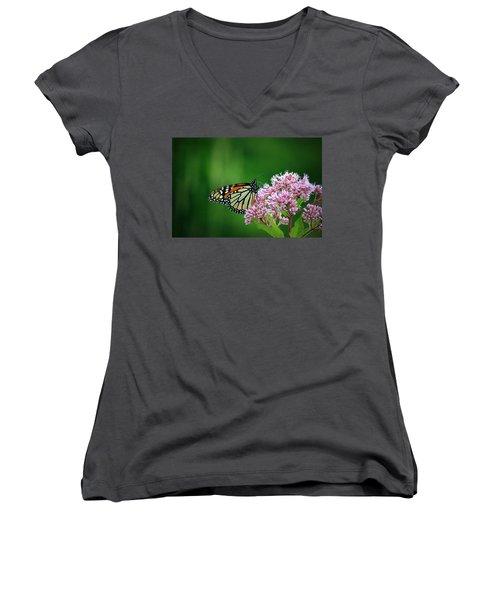 Monarch In Light  Women's V-Neck T-Shirt