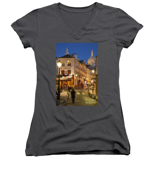 Montmartre Twilight Women's V-Neck T-Shirt (Junior Cut) by Brian Jannsen