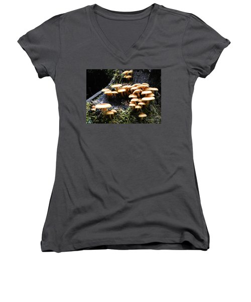 Women's V-Neck T-Shirt (Junior Cut) featuring the photograph Mushrooms On A Stump by Chalet Roome-Rigdon
