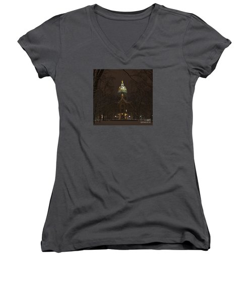 Notre Dame Golden Dome Snow Women's V-Neck T-Shirt