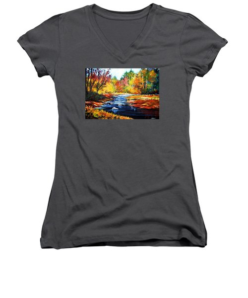 Women's V-Neck T-Shirt (Junior Cut) featuring the painting October Bliss by Al Brown