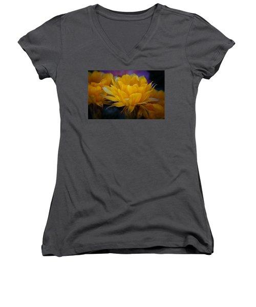 Orange Cactus Flowers  Women's V-Neck (Athletic Fit)