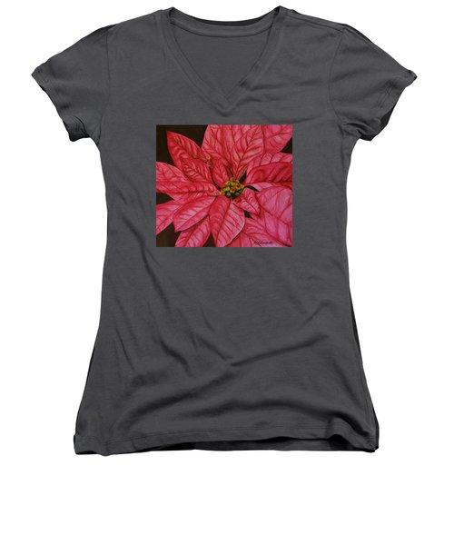 Poinsettia Women's V-Neck T-Shirt