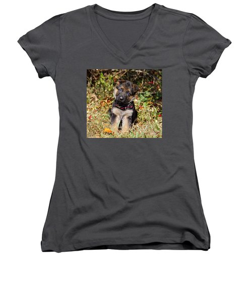 Pretty Puppy Women's V-Neck T-Shirt (Junior Cut) by Sandy Keeton