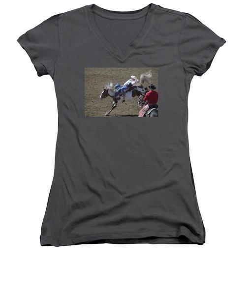 Ride Em Cowboy Women's V-Neck T-Shirt (Junior Cut) by Jeff Swan