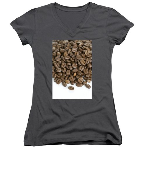 Women's V-Neck T-Shirt (Junior Cut) featuring the photograph Roasted Coffee Beans by Lee Avison