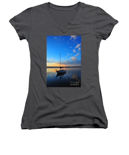 Women's V-Neck T-Shirt (Junior Cut) featuring the photograph Sailing 2 by Terri Gostola