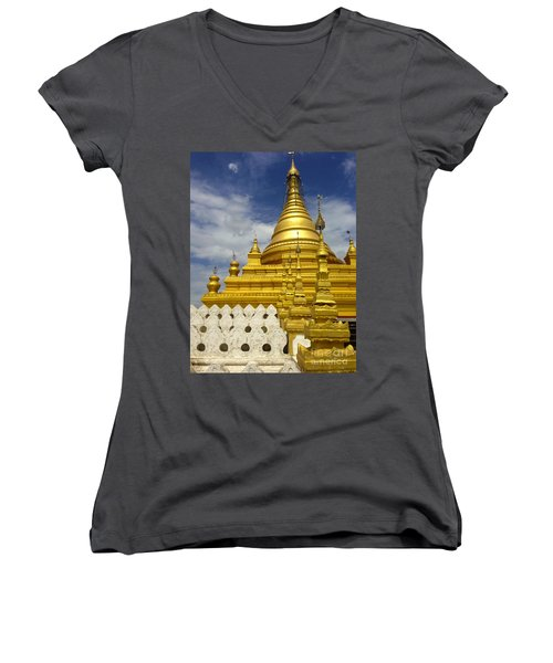 Women's V-Neck T-Shirt (Junior Cut) featuring the photograph Sandamuni Pagoda Mandalay Burma by Ralph A  Ledergerber-Photography