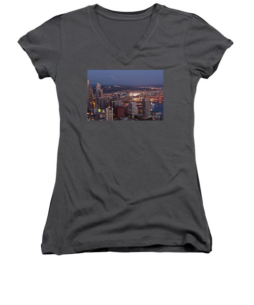 Seattle Skyline With Mount Rainier And Downtown City Lights Women's V-Neck T-Shirt