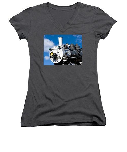 Smiling Locomotive Women's V-Neck (Athletic Fit)