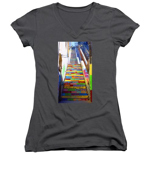 Stairway To Heaven Valparaiso  Chile Women's V-Neck
