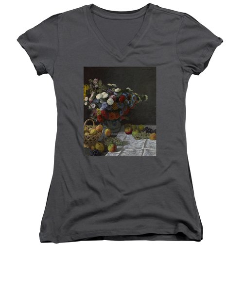 Still Life With Flowers And Fruit Women's V-Neck (Athletic Fit)