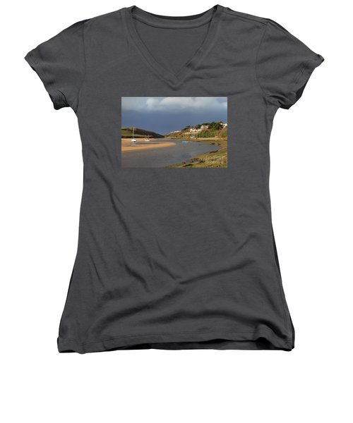 Women's V-Neck T-Shirt (Junior Cut) featuring the photograph Storm Approaches The Gannel Estuary Newquay Cornwall by Nicholas Burningham