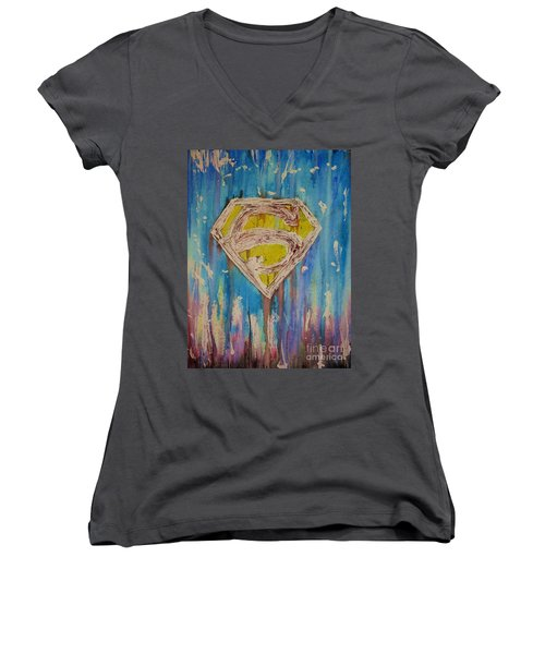 Women's V-Neck T-Shirt (Junior Cut) featuring the painting Superman's Shield by Justin Moore
