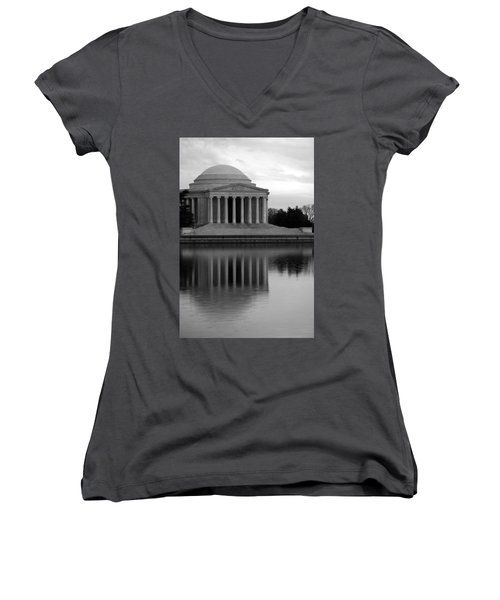 Women's V-Neck T-Shirt (Junior Cut) featuring the photograph The Jefferson Memorial by Cora Wandel
