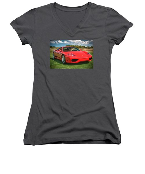 2001 Ferrari 360 Modena Women's V-Neck T-Shirt (Junior Cut) by Sebastian Musial