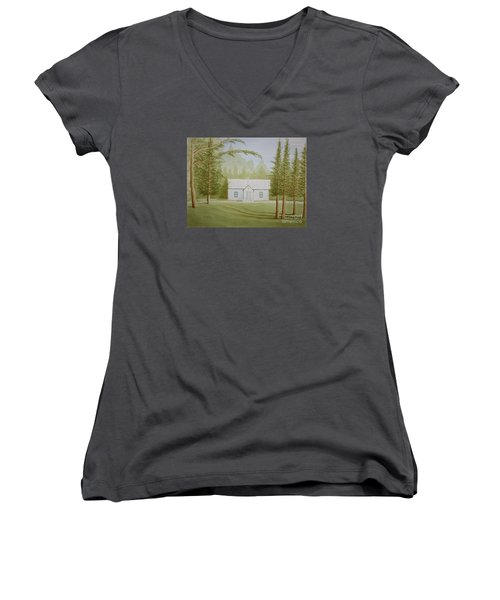 Women's V-Neck T-Shirt (Junior Cut) featuring the painting A North Carolina Church by Stacy C Bottoms