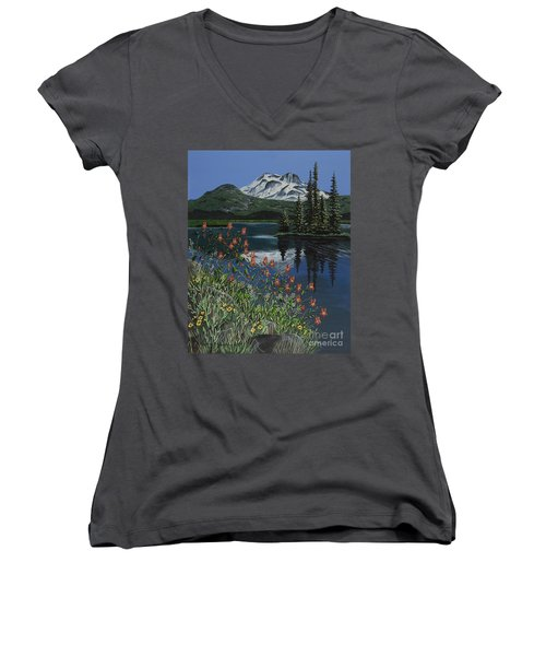 Women's V-Neck T-Shirt (Junior Cut) featuring the painting A Peaceful Place by Jennifer Lake